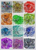 Kamas 12 holographic Heart Shape sequins paillette for nail decoration and other art DIY decora Size : 3MM - (Color: 12 Colors 20g Each)
