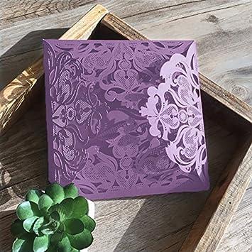 Amazon Com 10 Set Design Lace Laser Cut Purple Wedding Invitations