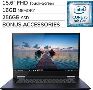 Lenovo Yoga 730 2-in-1 2019 15.6'' FHD Touch-Screen Laptop Notebook Computer,Intel 4-Core i5-8265U,16GB RAM,256GB SSD,Backlit Keyboard,No DVD,Wi-Fi,Bluetooth,Webcam,HDMI,Win 10 Home,Bonus Accessories