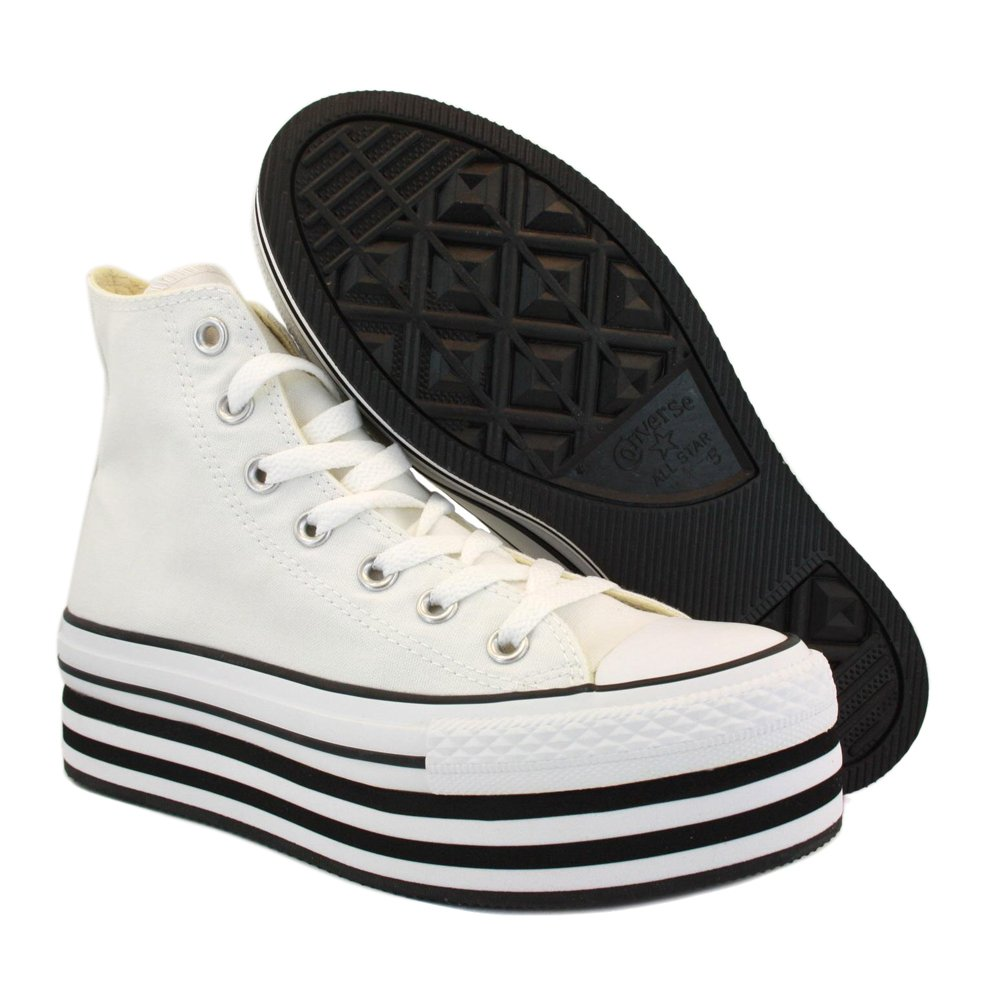 2057bb64ad9b3a Converse Chuck Taylor Platform 136721C Womens Laced Canvas Platform  Trainers White Black - 6  Amazon.co.uk  Shoes   Bags