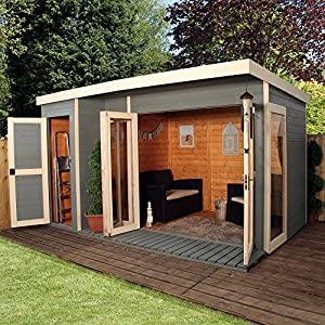painted summerhouse with store shed looks awesome outside