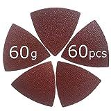 XXGO 60 Pcs 60 Grits Triangular 3-1/8 Inch Hook & Loop Abrasive Multi Tool Sandpaper for Wood Sanding Fit 3-1/8 Inch Oscillating Multi Tool Sanding Pads