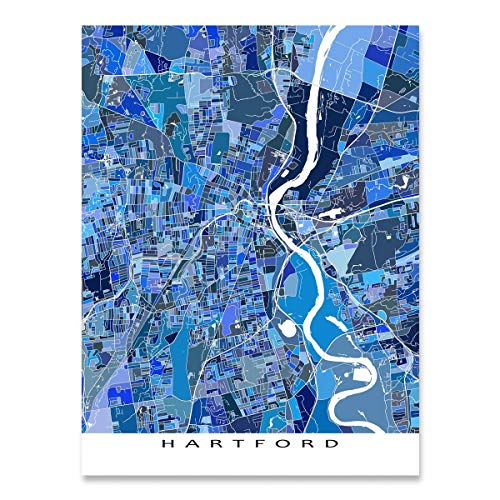 Hartford Map Print, Connecticut USA, City Art Poster