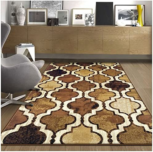 Superior Modern Viking Collection Area Rug, 10mm Pile Height with Jute Backing, Chic Textured Geometric Trellis Pattern, Anti-Static, Water-Repellent Rugs – Brown, 8 x 10 Rug