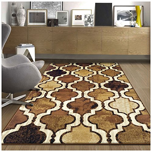 Superior Modern Viking Collection Area Rug, 10mm Pile Height with Jute Backing, Chic Textured Geometric Trellis Pattern, Anti-Static, Water-Repellent Rugs - Brown, 5' x 8' Rug (Brown And Tan Rug)