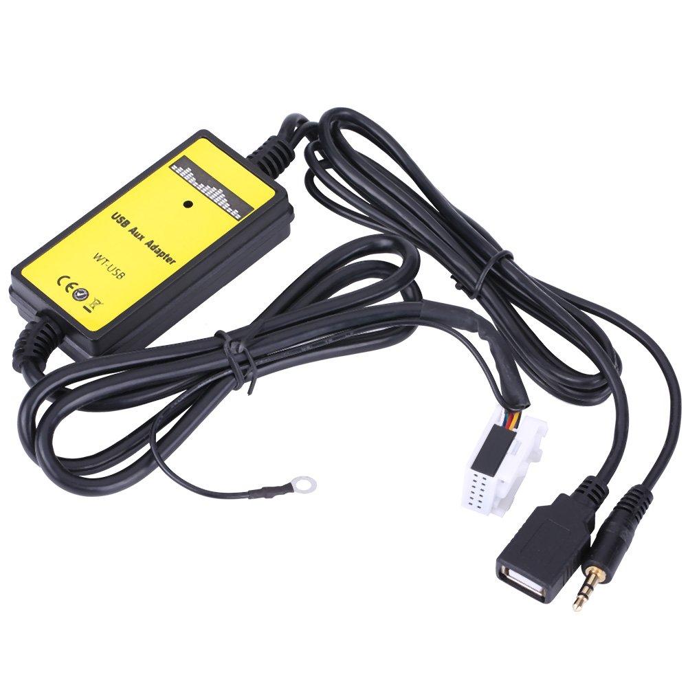 Qiilu Auto USB Aux In Adapter MP3 Player Kabel Radio Audio Interface f/ür Audio VW Skoda