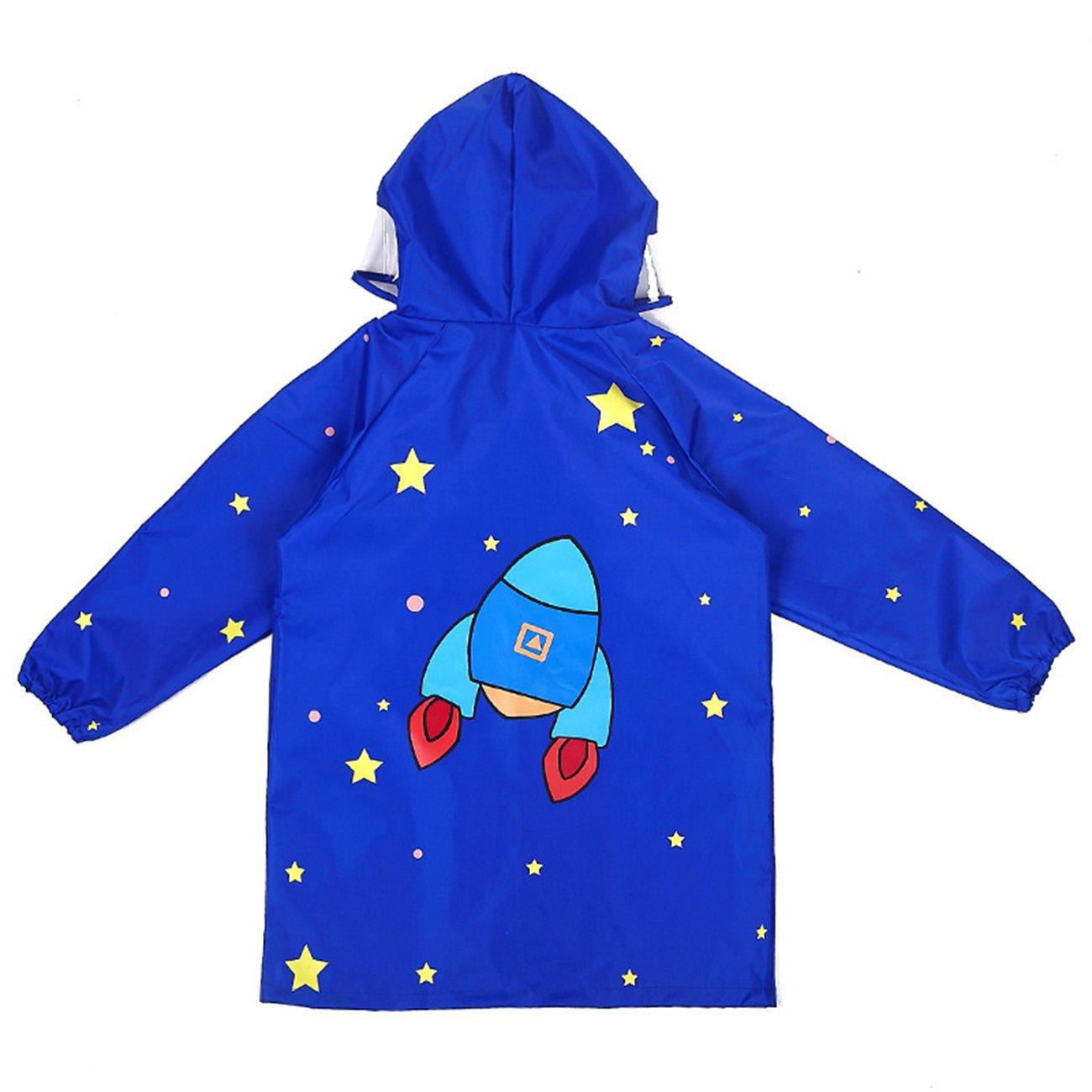Children Cartoon Waterproof Hooded Rain Jacket Light Children's Poncho Raincoat,Blue,L/Height:120-145cm/fit 7-10T
