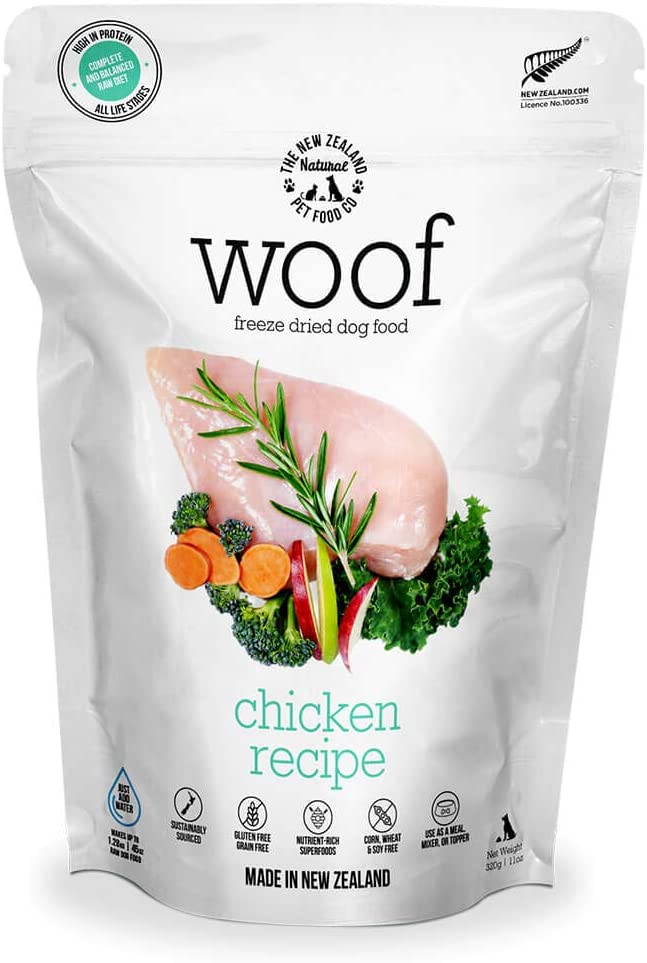 The New Zealand Natural Pet Food WOOF Chicken Freeze Dried Raw Dog Food, Mixer, or Topper - High Protein, Natural, Limited Ingredient Recipe 11 oz, Brown, NZ-WFD320C