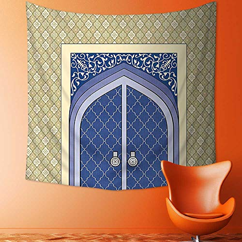 Printsonne Polyester Tapestry Wall Hanging Medieval Door with Ottoman Architecture Persian Influences Islamic Culture Design Blue Beige Wall Decor for Bedroom Living Room Dorm by Printsonne