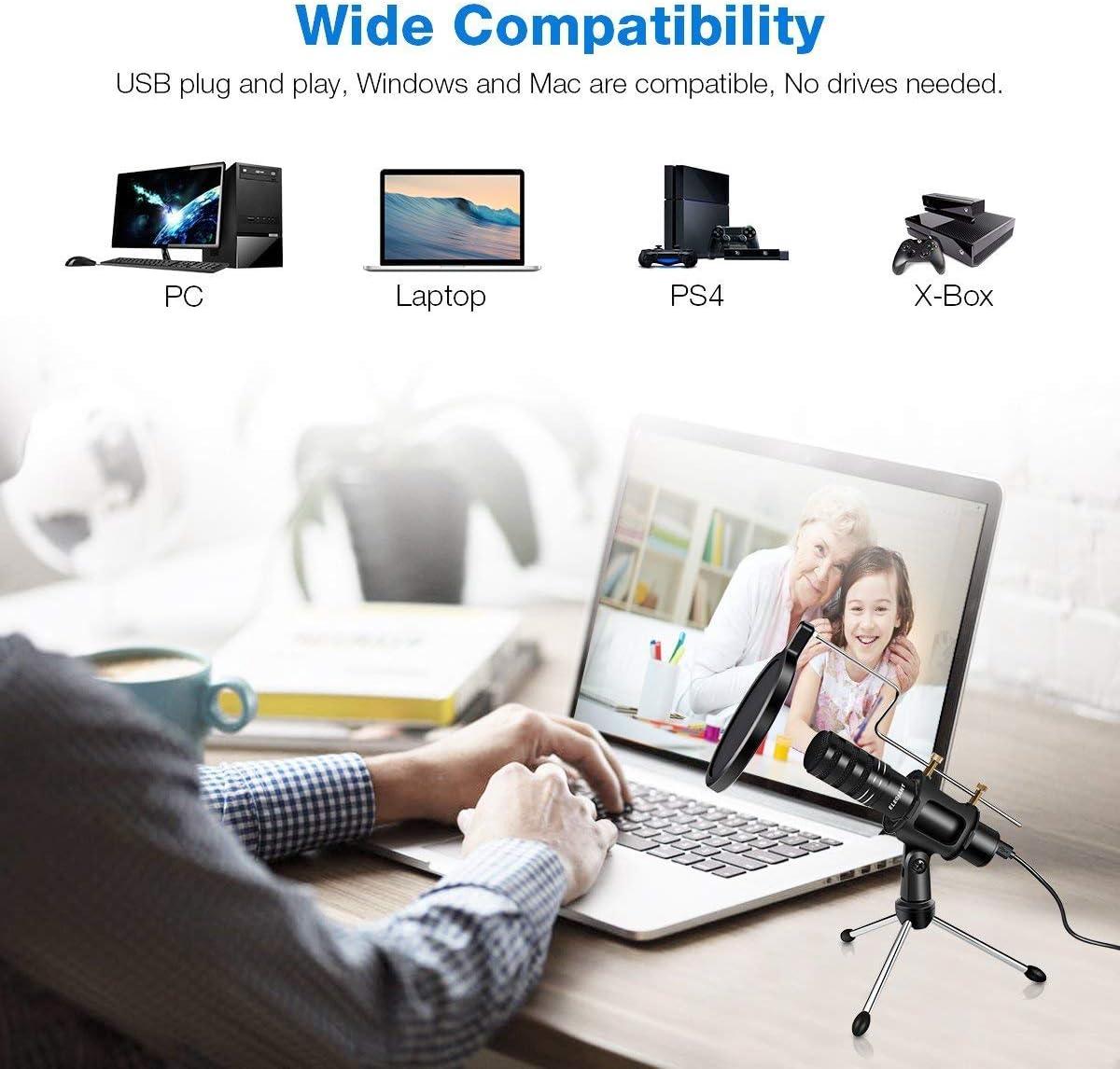 ONLT USB, micr/ófono omnidireccional, 360/°, audio de alta definici/ón, para conferencias, grabaciones, podcasting, transmisi/ón, canto, chates, ordenador de escritorio Micr/ófono de condensador para PC