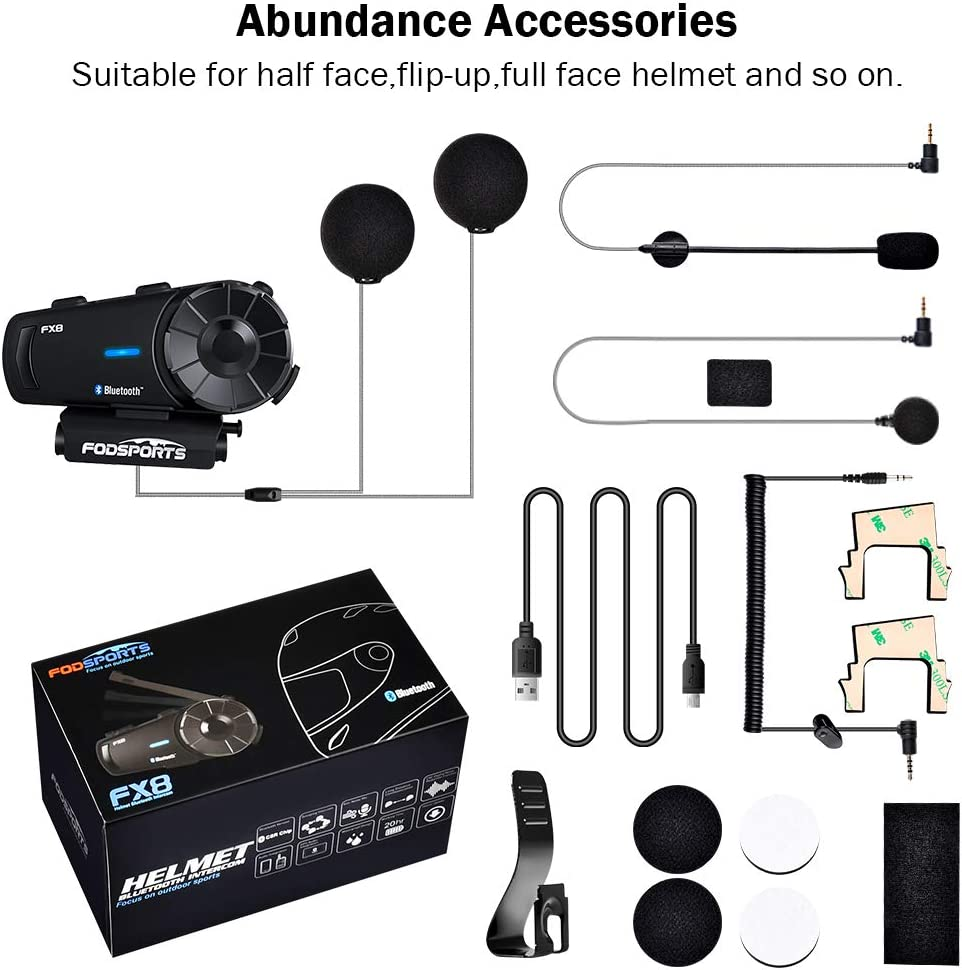 2000M Interfono Moto Bluetooth Coppiacon fino a 8 ciclisti confezione da 2 Walkie Talkie GPS mani libere MP3 player FM radio Fodsports FX8 Auricolari Casco Moto Bluetooth