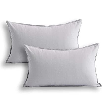 bae98086d7b Jeanerlor Cotton Linen Square Decorative Throw Pillow Case Cushion Cover  with Twin Needles Stitch on Edge