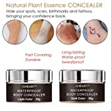 Makeup Concealer Waterproof Body Concealer for Scar Tattoo Birthmarks Blemish Vitiligo, Professional Flawless Instant Body Concealer Cream Camouflage Cover Up, Including Brush & Mixing Bottle,30g+30g