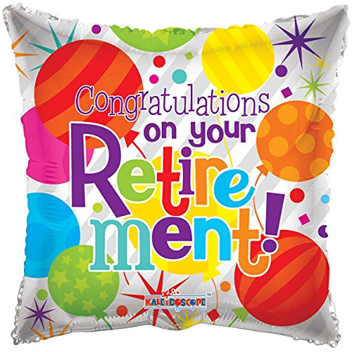 Retirement Congrats Square Shaped 18 Inch Mylar Balloon Bulk (5 Pack) ()