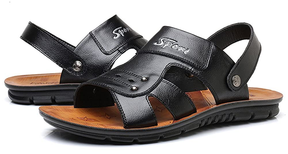 Seaoeey Summer Mens Open Toe Leather Sandals Outdoor Non-Slip Beach Slippers