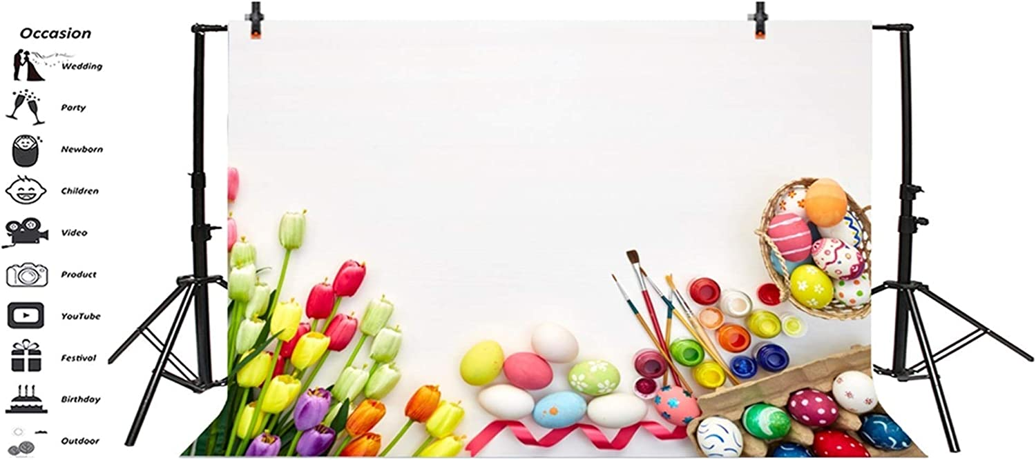 GoHeBe 8x6.5ft Vinyl Easter Photography Background Beautiful Tulip Flowers Colorful Easter Eggs Brushes Pigments Backdrop Child Kids Baby Shoot Greeting Card Easter Egg Hunt Activities Video