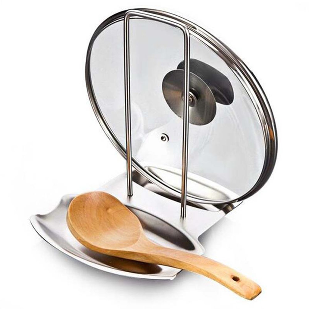 JINBEST Lid and Spoon Rest Stainless Steel Pan Pot Cover Lid Rack Stand Kitchen Utensils Holders