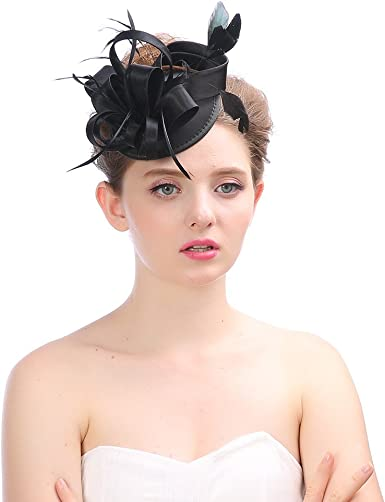 Womens Feather Fascinator with Hair Clip Kentucky Derby Hat for Royal Wedding Bridal Cocktail Tea Party