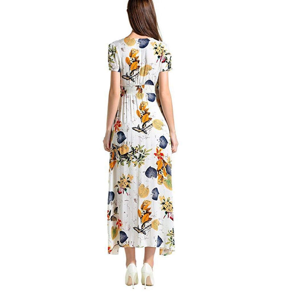 Weardear Women Casual V Neck Short Sleeve Floral Bowknot A Line Split Dress Dresses