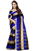 Ishin Poly Cotton Saree (Ishin-20140_Blue & Black)