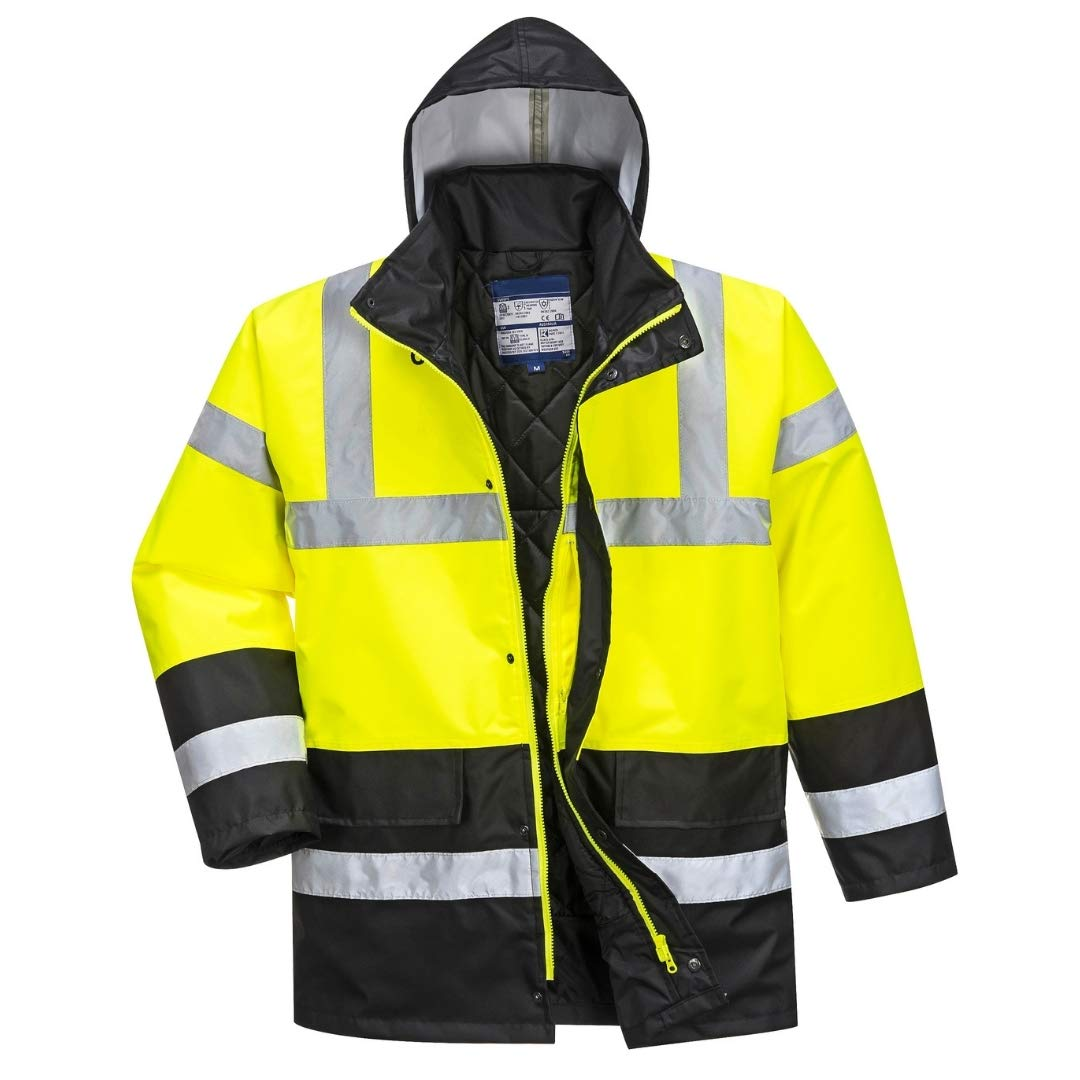 Hi Vis Contrast Traffic Jacket - Lightweight Rain Jacket for Men - Ansi Class 3, High Visibility, Insulated (6XL, HiViz Yellow/Black)