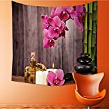 Nalahomeqq Spa Decor Collection Spa Orchid Flowers Rocks Bamboo Asian Style Aromatherapy Massage Therapy Picture Print Microfiber Fabric drawing room Custom tapestry Pink Green Beige 40 W x 60 L INCH