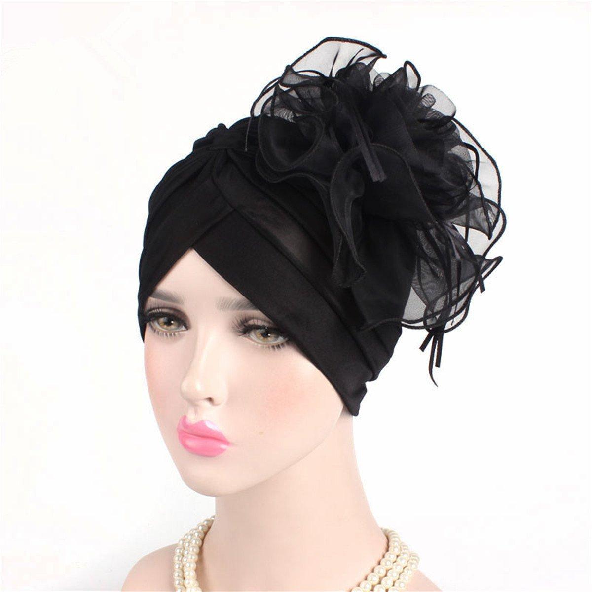 4d700be9 Amazon.com: Qhome Women Ruffle Turban Headwear With Big Poplin Flower  Cocktail Wedding Tea Party Hat Indian Turban Hats Turbante: Clothing