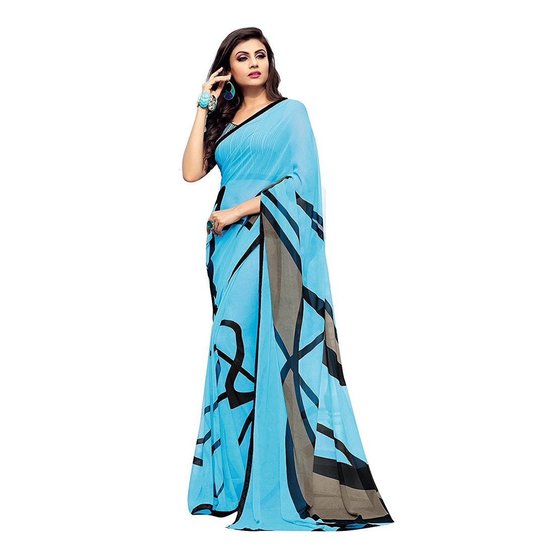 22c4144457 Craftsvilla Women's Georgette Lace Work Designer Sky Blue Saree with Blouse  piece: Amazon.in: Clothing & Accessories