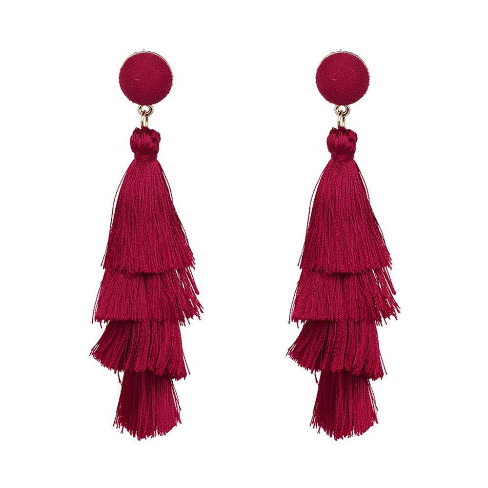 Bohemian Multi Layer 4 Tassels Drop Dangle Earrings Tassel Jewelry For Women yuqiang company AXQEH0015
