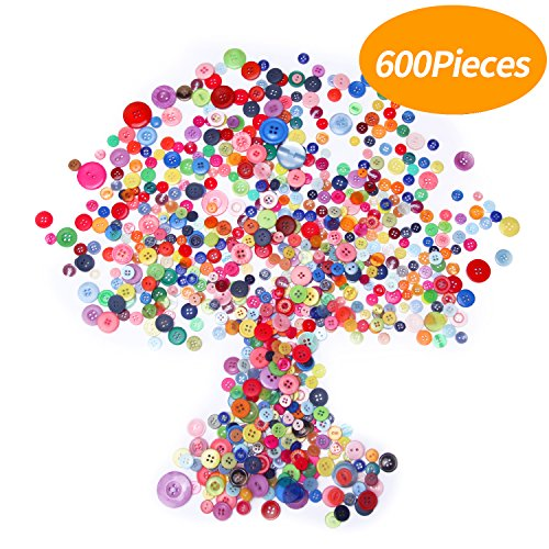 Buttons Bright (Senkary 600 Pieces Craft Buttons Decorative Sewing Buttons Assorted Buttons Resin Round Buttons Bulk 4 Holes and 2 Holes, Assorted Colors and Sizes)