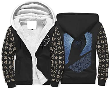WEIFLY Men's Long Sleeve Full Zip Up Viking Crow VikingPrint