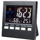 SkyLeap 高精度温度湿度計 デジタル温湿度計 時計 バックライト機能付き 目覚ましアラーム 液晶大画面表示 スタンド