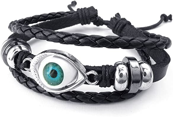 Brown Black TEMEGO Jewelry Mens Womens Alloy Genuine Leather Rope Bracelet Vintage Feather Charm Bangle Bracelet