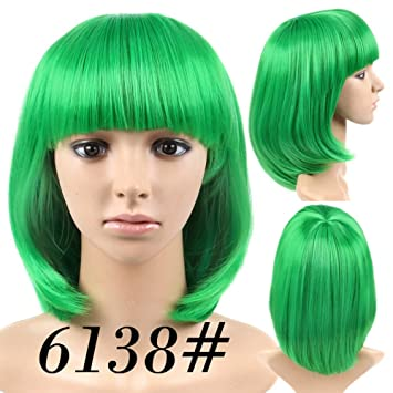 Cheap Short Bob Wig Green Color 6138# With Bangs for Women Full Head Colorful Cosplay