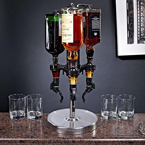 Oggi Professional 3-Bottle Revolving Liquor Dispenser (Bottle Bar Stand)