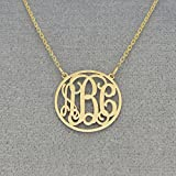 3 Initials Dainty Circle Monogrammed Necklace 5/8 Inch Solid Gold Monogram Jewelry GM40C