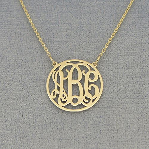 3 Initials Dainty Circle Monogrammed Necklace 5/8 Inch Solid Gold Monogram Jewelry GM40C by Soul Jewelry Inc