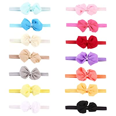 14pcs Baby Headbands Bowknot Solid Color Baby Girl Hair Bands Accessories