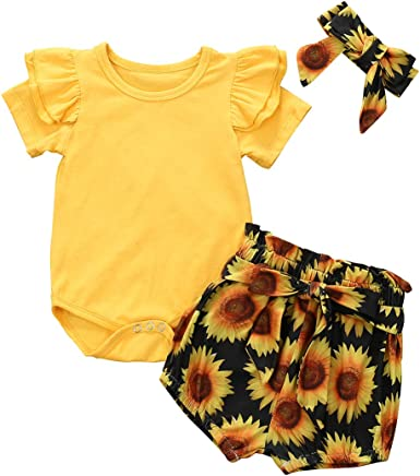 3Pcs//Set Toddler Baby Girls Sunflower Halter Top+Yellow Short Pants Summer Outfits Clothes with Headband