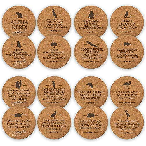 "TANGRA Funny Party Cork Coasters Set of 8 Double Sided Laser Engraved with 16 Funny Slogans. Make Your Party More Fun with Large Size 3.75"" Durable Reusable Drink Protective Absorbent ()"