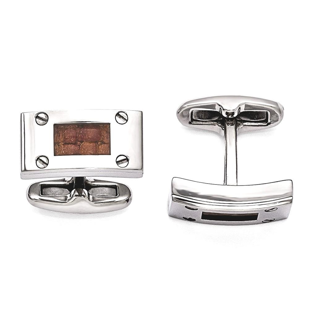 ICE CARATS Edward Mirell Titanium Brown Leather Cuff Links Mens Cufflinks Man Link by ICE CARATS