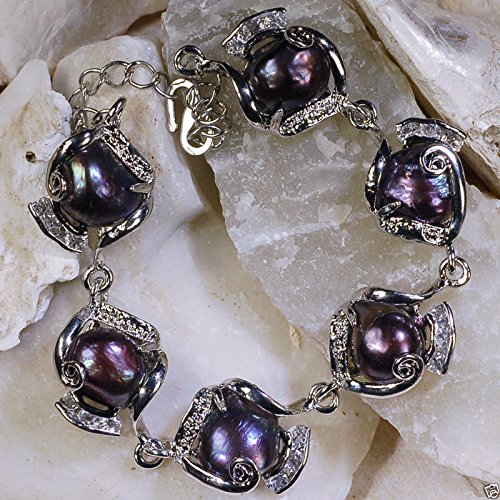 Genuine 10-11mm Black Natural Freshwater Akoya Baroque Pearl Chain Bracelet 9'' - Genuine Baroque Pearl Bracelet