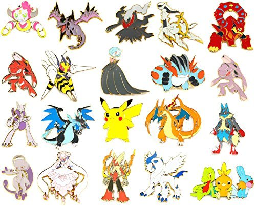 Pokemon Pins - 7 Random Pins with Bonus Lanyard Keychain
