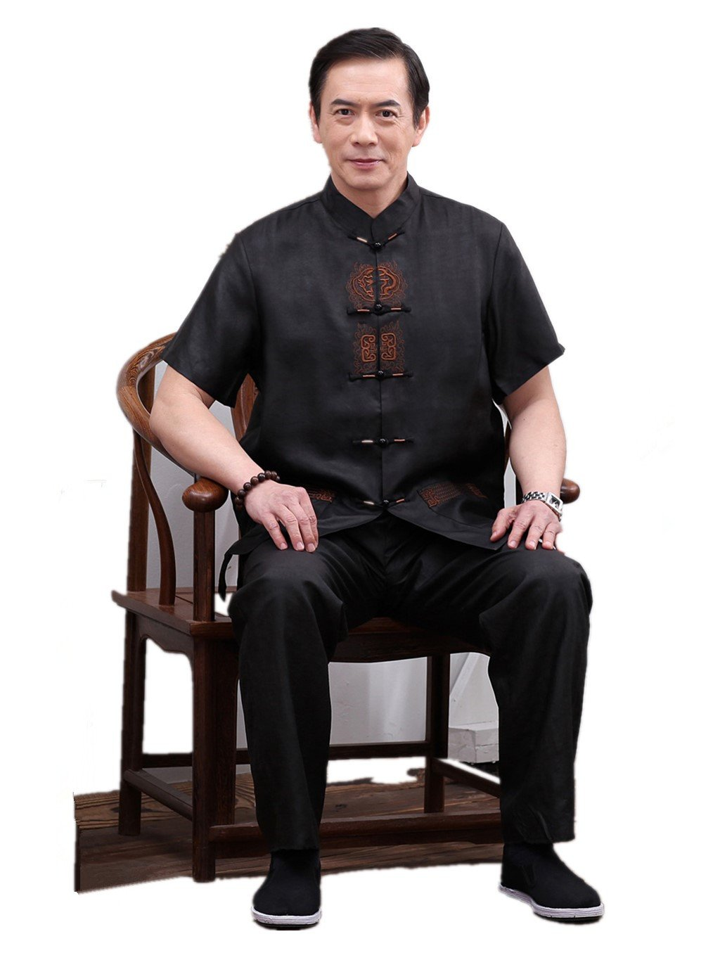 Business Shirts Suits Tang Suit Retra Shirts Chinese National Style Mulberry Silk Shirt+Pants by JIANYUAN-Tang Suit