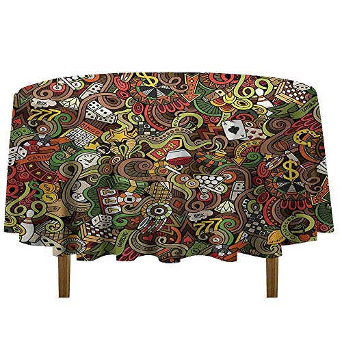 Casino Printed Tablecloth Doodles Style Artwork of Bingo and Cards Excitement Checkers King Tambourine Vegas Desktop Protection pad D35 Inch Multicolor
