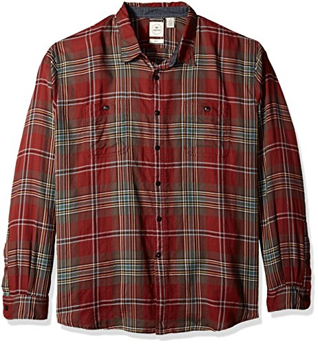 Premium Twill Shirt - Dockers Men's Twill Long Sleeve Button Front Shirt,  Henna, Medium