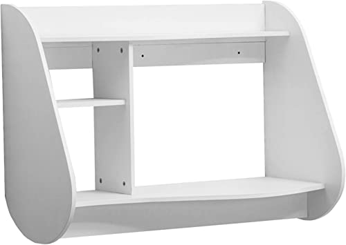 Mcombo Floating Wall Mount Laptop Stand Shelf Home TV Station Office Dorm Bedroom Computer Desk Shelves 1112 White