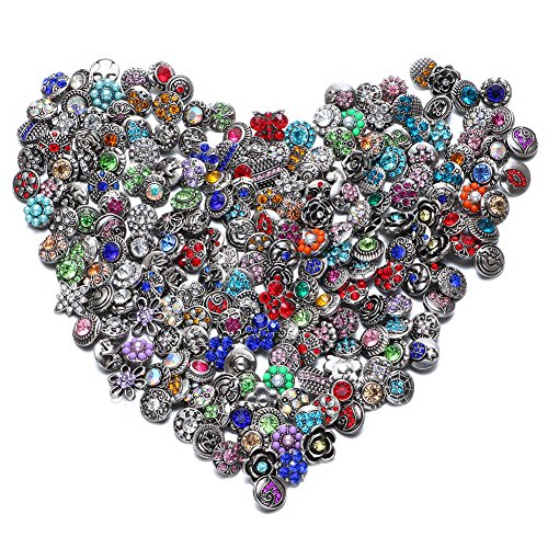 Soleebee Mixed 12mm Alloy Rhinestones Snap Buttons Jewelry Charms DIY Accessories (50pcs snap Buttons)