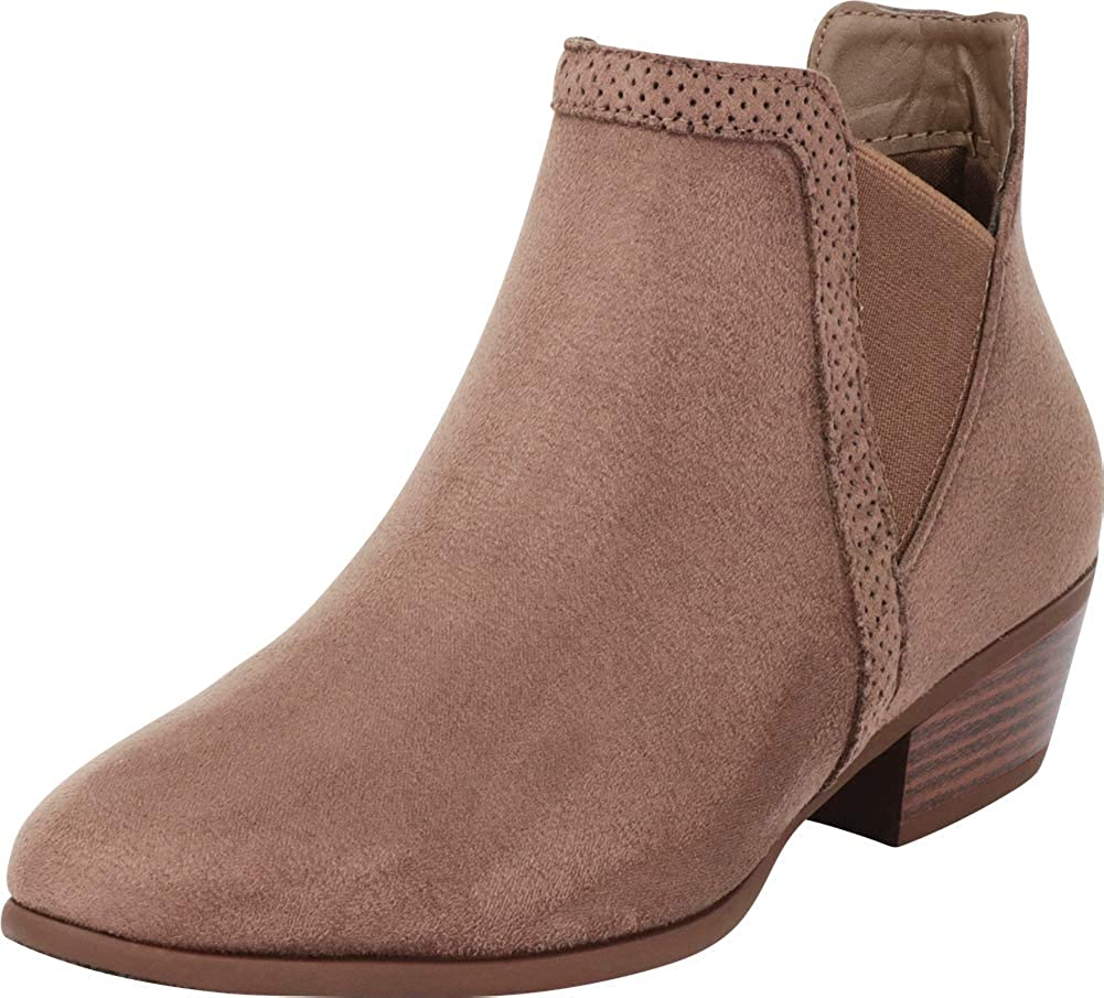 Mocha Imsu Cambridge Select Women's V Cutout Chelsea Stretch Chunky Stacked Low Heel Ankle Bootie