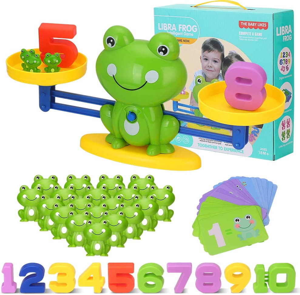 Juegos Matematicos Balanza para Niños, Equilibrar Rana Animal Juguete Montessori con Numer Tarjeta, Number y Matemáticas Aprendizaje Juguetes Educativos para Niños y Niñas de 3 4 5 6 Años (Rana)